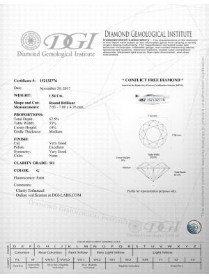 Round Shape 1.54 Carat SI1 Clarity Enhanced Diamond