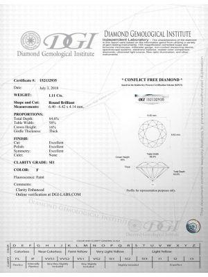 Round Shape 1.11 Carat SI1 Clarity Enhanced Diamond