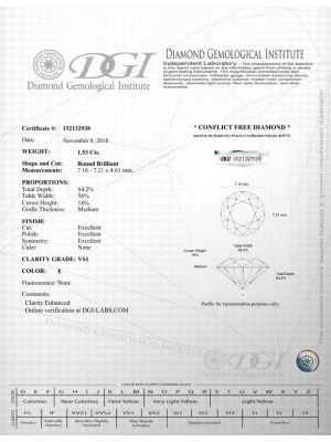 Round Shape 1.53 Carat VS1 Clarity Enhanced Diamond