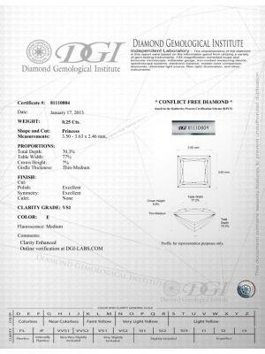 Prince Shape 0.25 Carat VS1 Clarity Enhanced Diamond