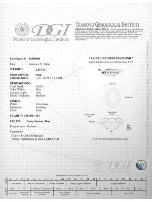 Oval Shape 2.26 Carat SI1 Clarity Enhanced Diamond