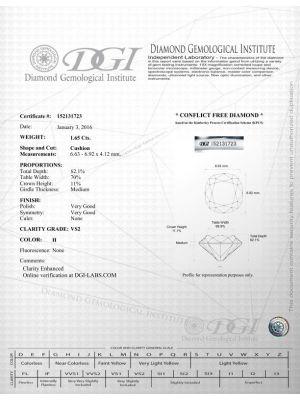 Cushion Shape 1.65 Carat VS2 Clarity Enhanced Diamond