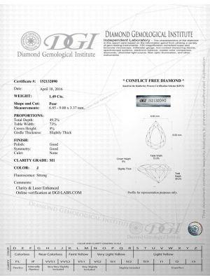 Pear Shape 1.49 Carat SI1 Clarity Enhanced Diamond