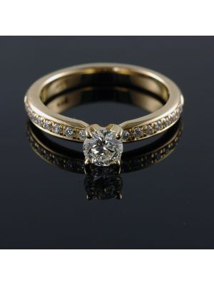 14K-18K Yellow Rose Or White Gold Solitaire Engagement Ring with Round Shape 0.43 Carat VS2 Clarity Enhanced Diamond