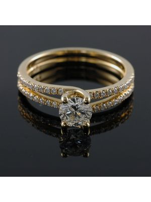 14K-18K Yellow Rose Or White Gold Double Banded Engagement Ring with Round Shape 0.60 Carat VS2 Clarity Enhanced Diamond