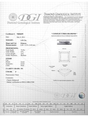 Prince Shape 1.51 Carat SI1 Clarity Enhanced Diamond
