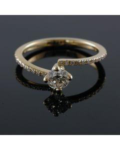 14K-18K Yellow Rose Or White Gold Slim Band Engagement Ring