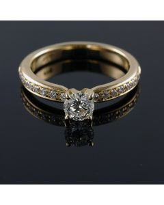 14K-18K Yellow Rose Or White Gold Solitaire Engagement Ring