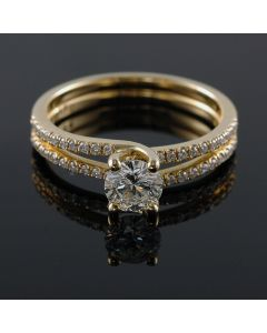 14K-18K Yellow Rose Or White Gold Double Banded Engagement Ring