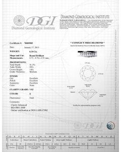 Round Shape 0.39 Carat VS2 Clarity Enhanced Diamond